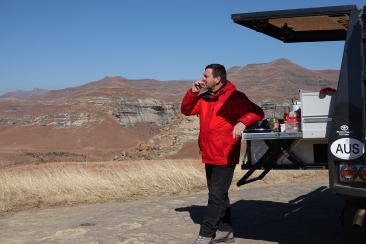 A spot of lunch while looking out on the Drakensbergs!